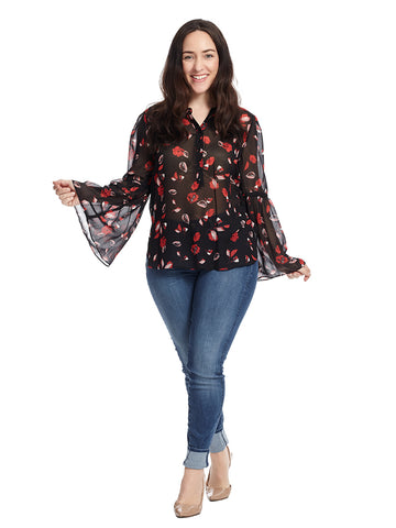 Floating Petals Print Top