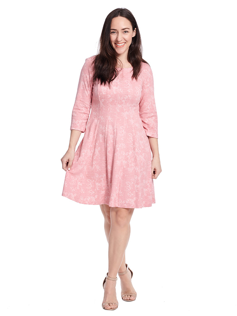 Three-Quarter Sleeve Coral Jacquard Print Dress