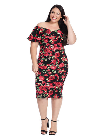 Draped Shoulder Sophia Dress In Black Floral Print