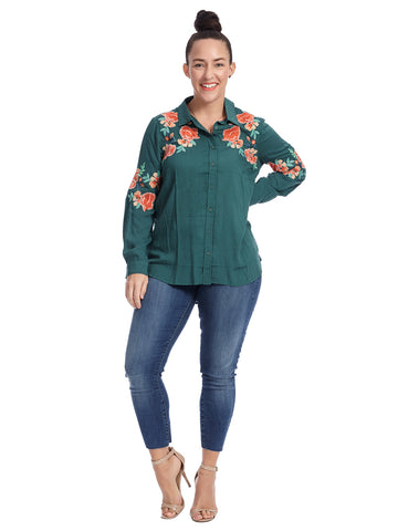 Button Down Embroidered Green Top