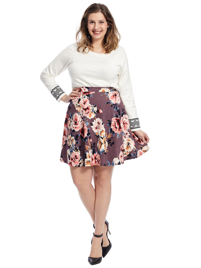 Purple Multi Floral Print Skirt