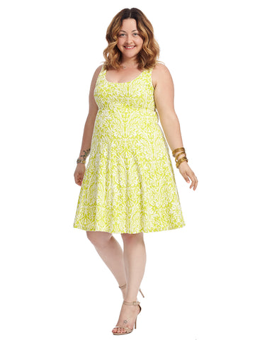 Citron Fleur De Lis Knit Fit And Flare Dress
