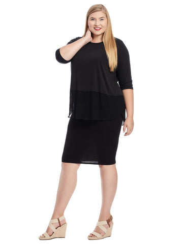 Shirttail Hem Black Top