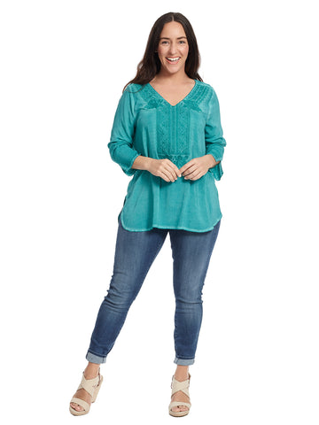 Embroidered Turquoise Top