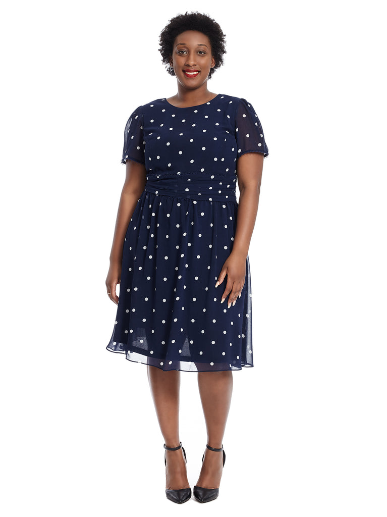 Short Sleeve Navy Polka Dot Print Dress