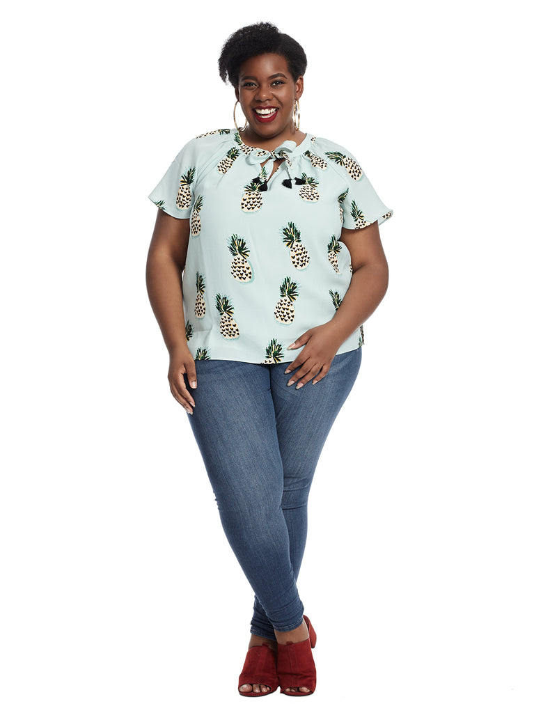 Sia Flutter Top In Pineapple Heart Print