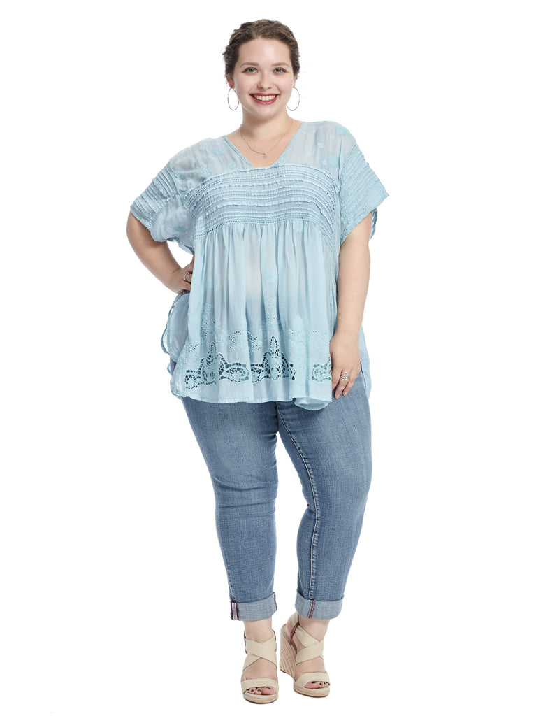 Floral Light Blue Poncho Top