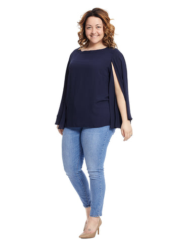 Cape Sleeve Navy Top