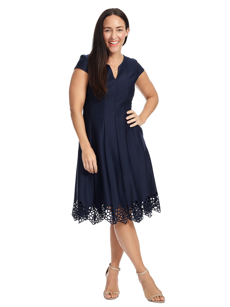 Lace Hem Navy Fit And Flare Dress