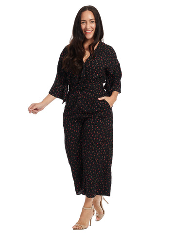 Black Rose Print Jumpsuit