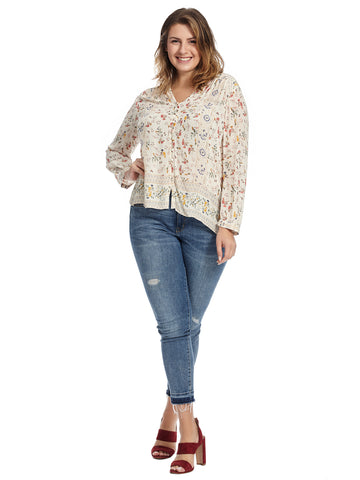 Button Up Ivory Floral Print Top