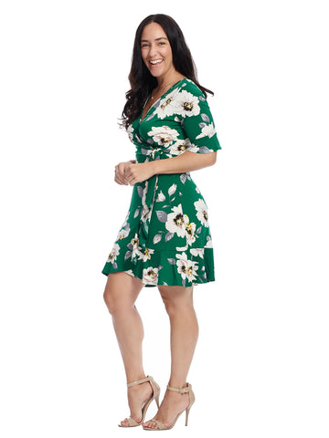 Surplice Green Floral Dress
