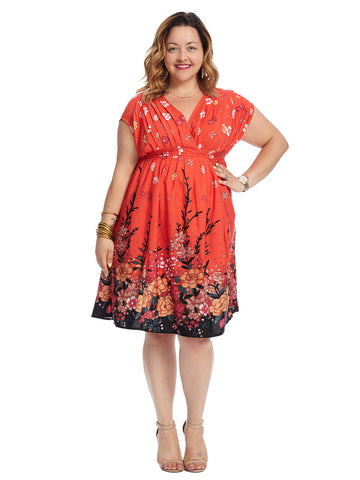Grecian Pleat Floral Print Dress
