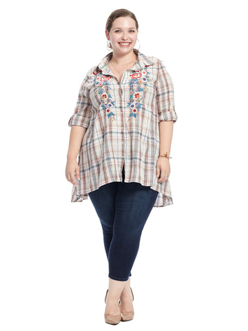 Embroidered Plaid Tunic Top