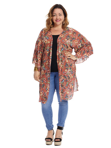 Three-Quarter Sleeve Floral Cardigan