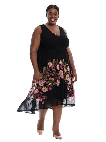Floral Border Hi Lo Dress