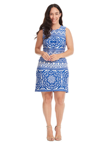 Scuba Shift Dress In Blue & White Print