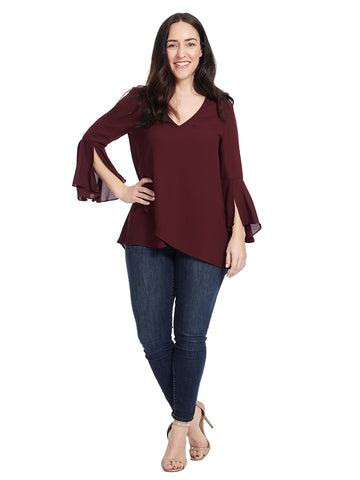 Crepe Top With Split Sleeve And Asymmetrical Hem