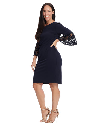 Lace Sleeve Navy Shift Dress