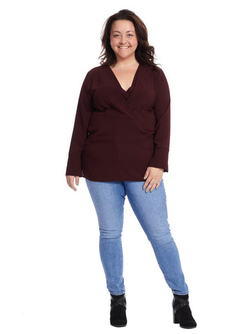 V-Placket Tunic In Deep Claret