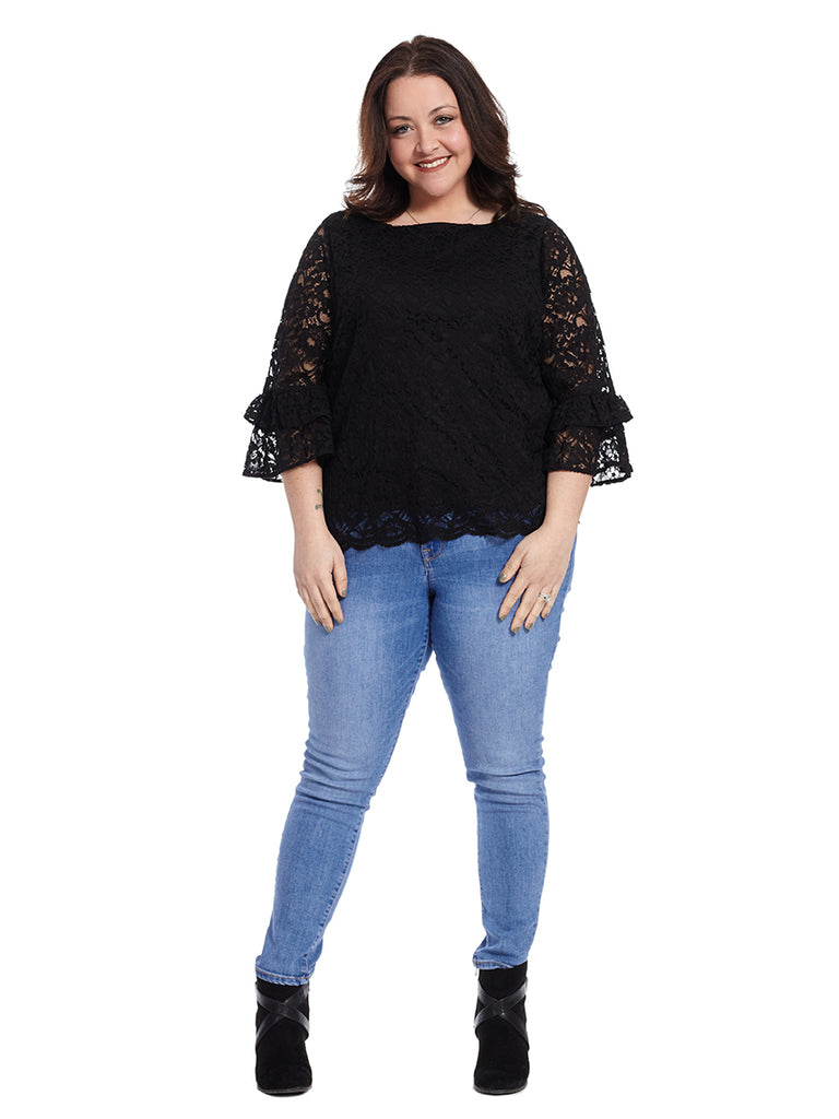 Scalloped Lace Top In Black