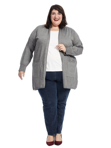 Marled Coal Heather Open Duster Cardigan