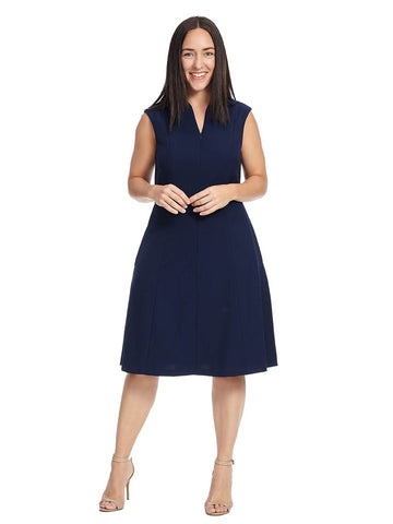 Fit & Flare Zip Front Dress In Navy