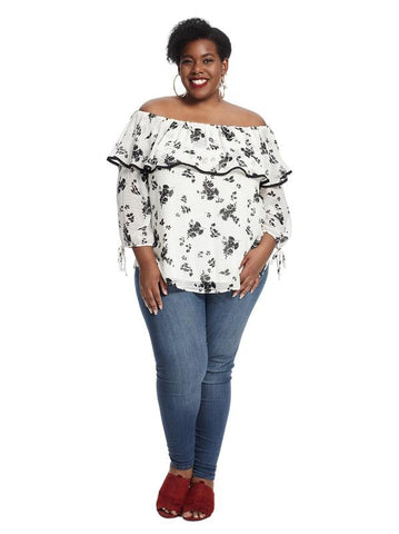 Tie Sleeve Off The Shoulder White Floral Print Top