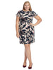 Drop Shoulder Leaf Print Sheath Dress