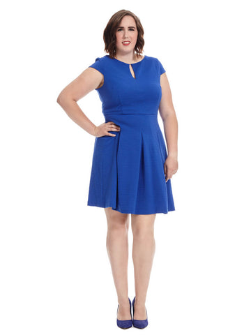 Short Sleeve Fit and Flare in Cobalt