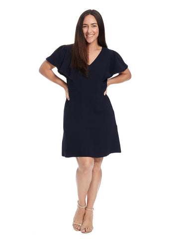 Fringe Trim Forever Navy Dress