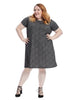 Short Sleeve Texture A-Line Dress In Grey & Black