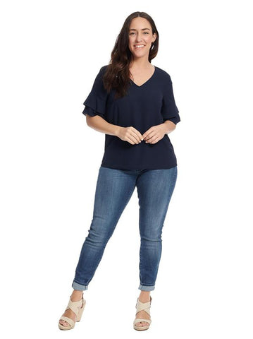 V-Neck Ruffle Sleeve Navy Top