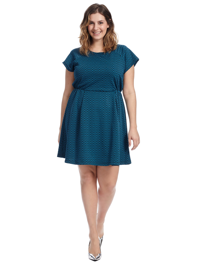 Blue Chevron Fit And Flare Dress