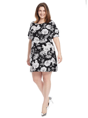 Floral Shift Dress With Ruffled Sleeve