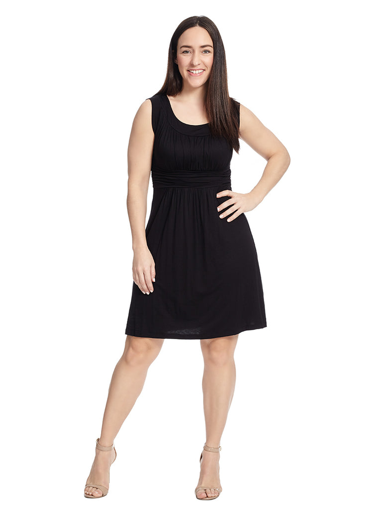 Sleeveless Dress With Ruching Details In Black