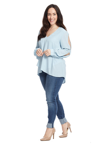 Split Sleeve Cross Over Silky Crepe Top