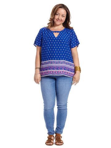 Short Sleeve Blouse With Cut Out In Cobalt Print