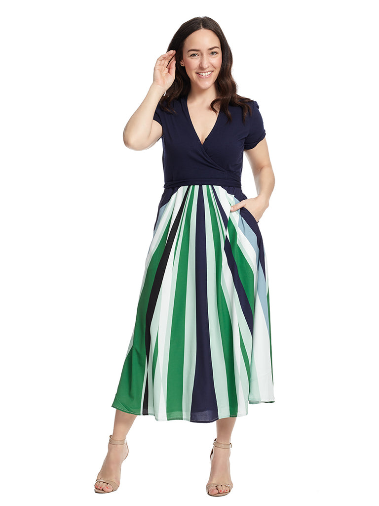 Abstract Stripes Fit And Flare Dress
