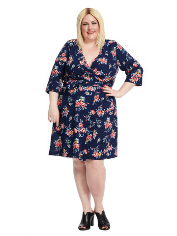 Three-Quarter Sleeve Navy Botanical Print True Wrap Dress