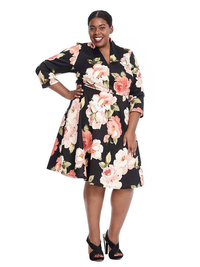 Three-Quarter Sleeve Fit And Flare Dress In Floral Print