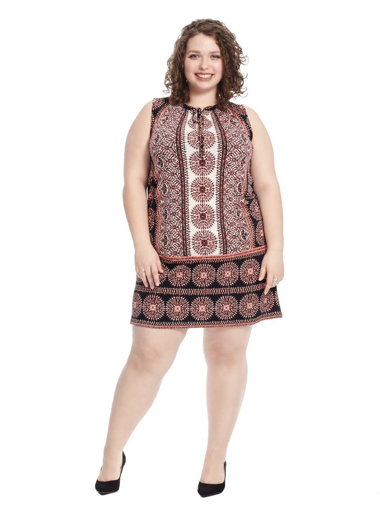 Red Sundial Medallion Print Shift Dress