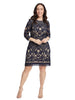 Three-Quarter Sleeve Navy Lace Dress