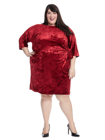 Velvet Side Tie Dress In Red