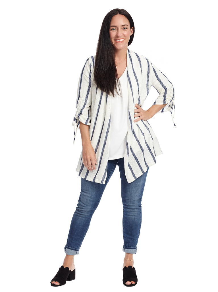 Tie Detail Sleeve Striped Cardigan