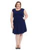 Cap Sleeve Fit And Flare Dress In Navy