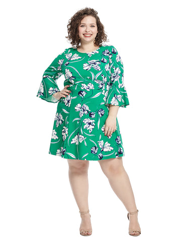 Bell Sleeve Green Floral Fit And Flare Dress