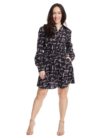 Long Sleeve Shirt Dress In Parisian Script Print