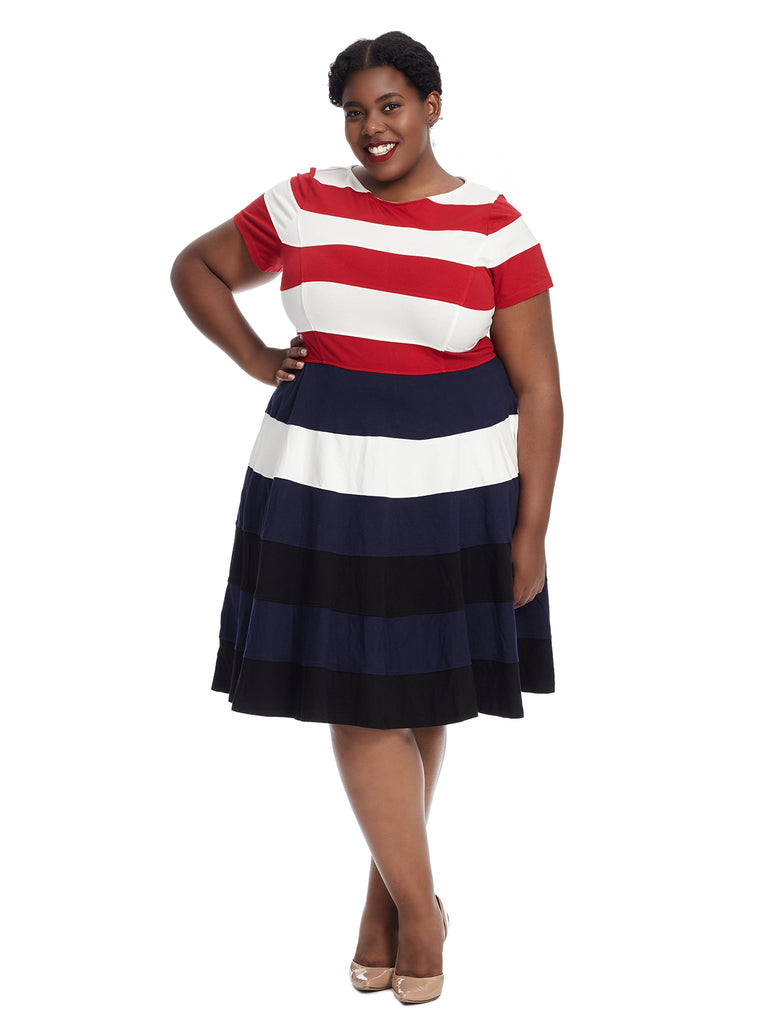 Banded Stripe Fit And Flare Dress