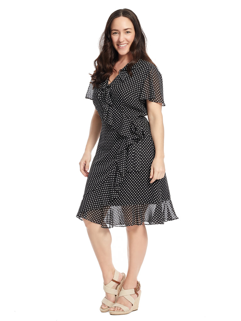 Short Sleeve Ruffle Polka Dot Faux Wrap Dress